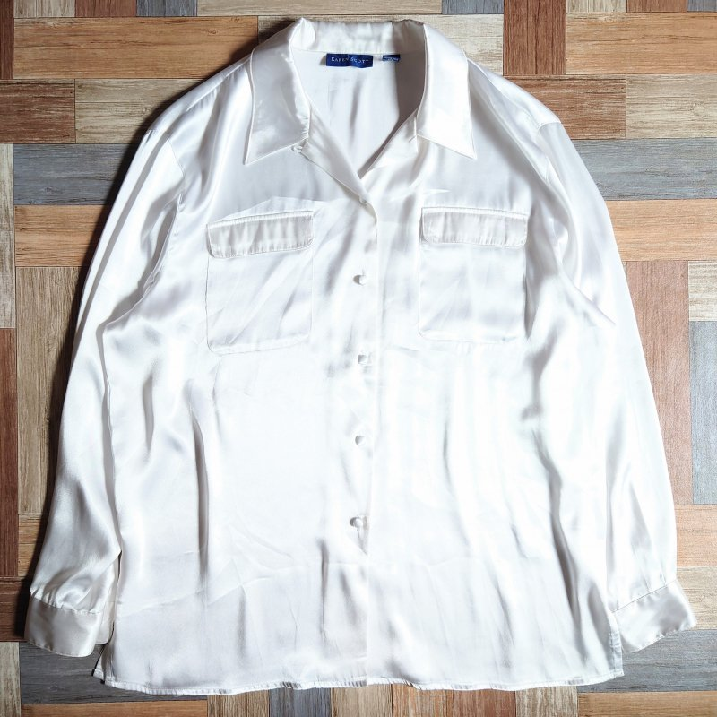 90's KAREN SCOTT サテン 開襟 シャツ ホワイト (レディース古着)