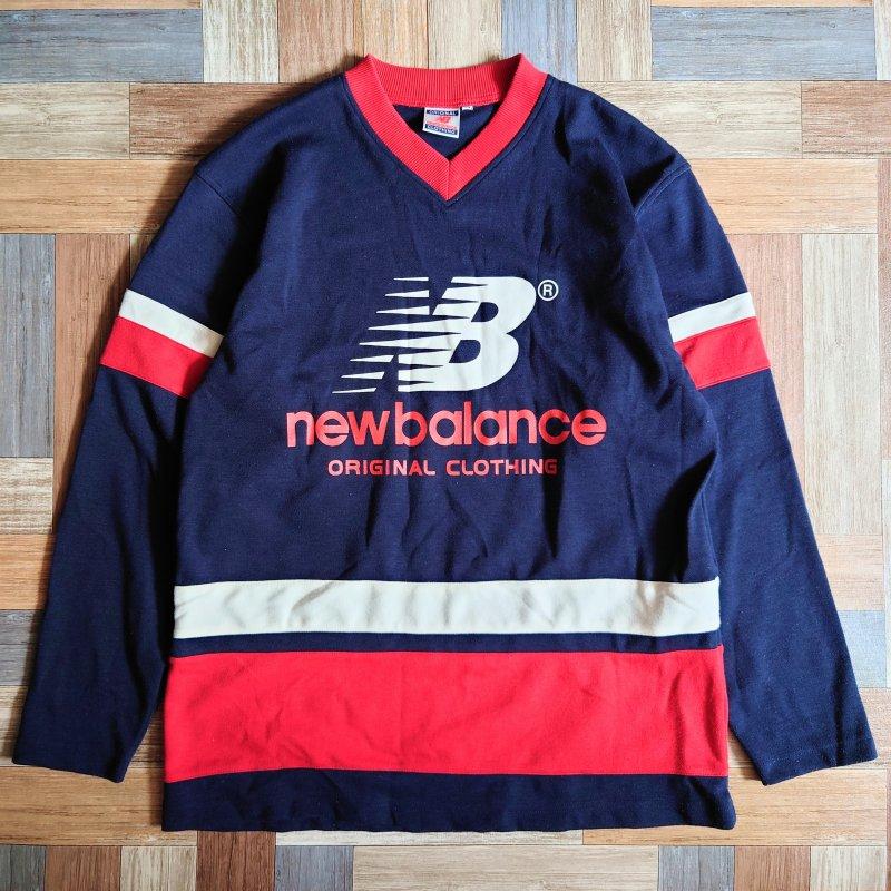90's new balance ロゴ スウェット ネイビー (メンズ古着)