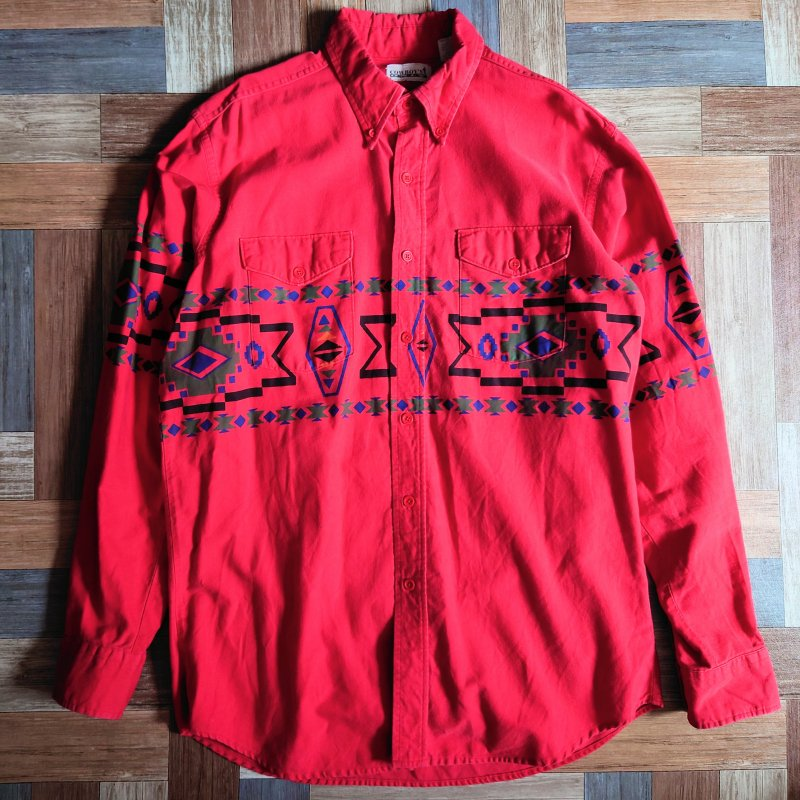 90's COWBOY'S ONLY USA製 ネイティブ シャツ レッド (メンズ古着)