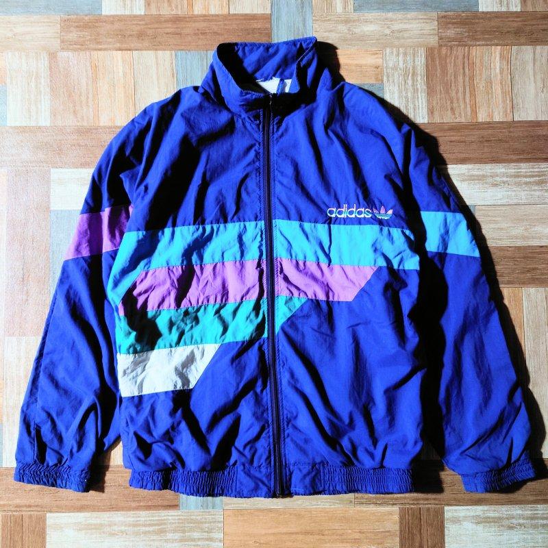 80~90's adidas ナイロン ジャケット ネイビー (メンズ古着)