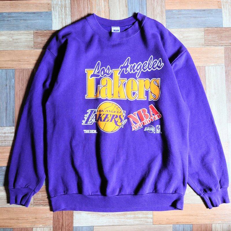 90's LA Lakers USA製 スウェット パープル (メンズ古着)