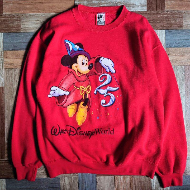 90's Disney USA製 アニバーサリー スウェット レッド (メンズ古着)
