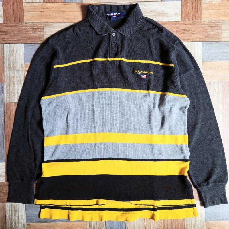 90's POLO SPORT コットン ニット ラガーシャツ (メンズ古着)