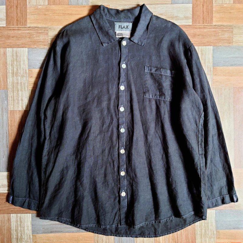 90's FLAX リネン シャツ ブラック (メンズ古着)