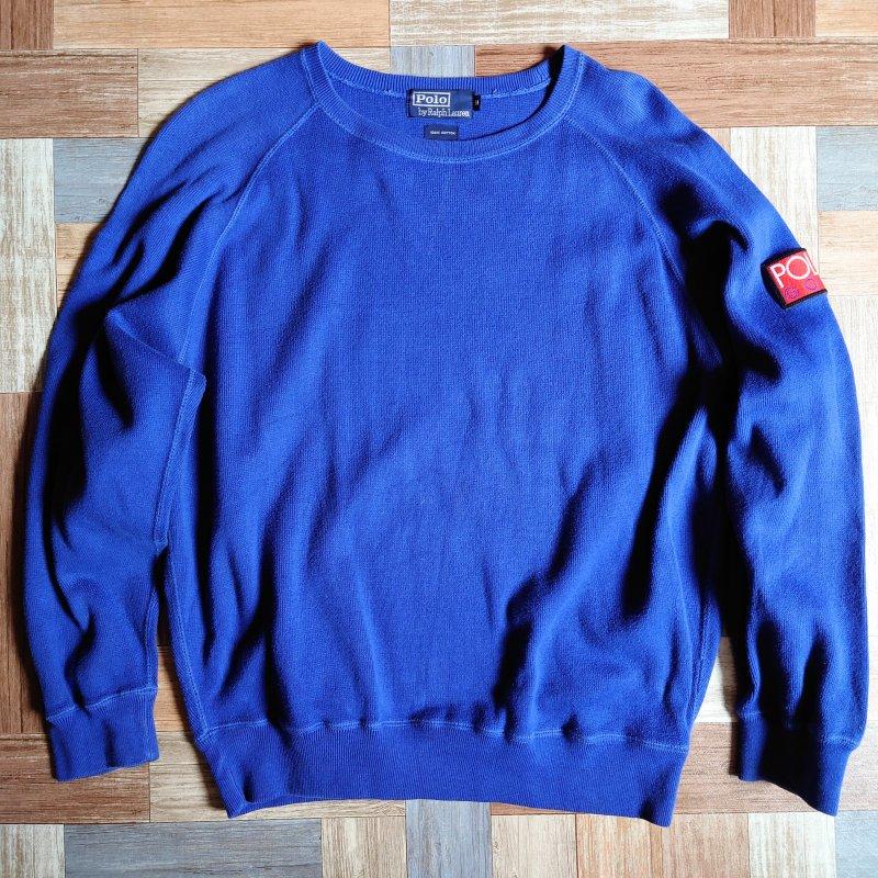 90's POLO RALPH LAUREN パッチ付き スウェット ブルー (メンズ古着)