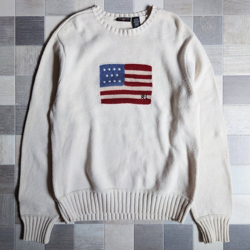 90's POLO JEANS 星条旗 ニット セーター オフホワイト (VINTAGE)