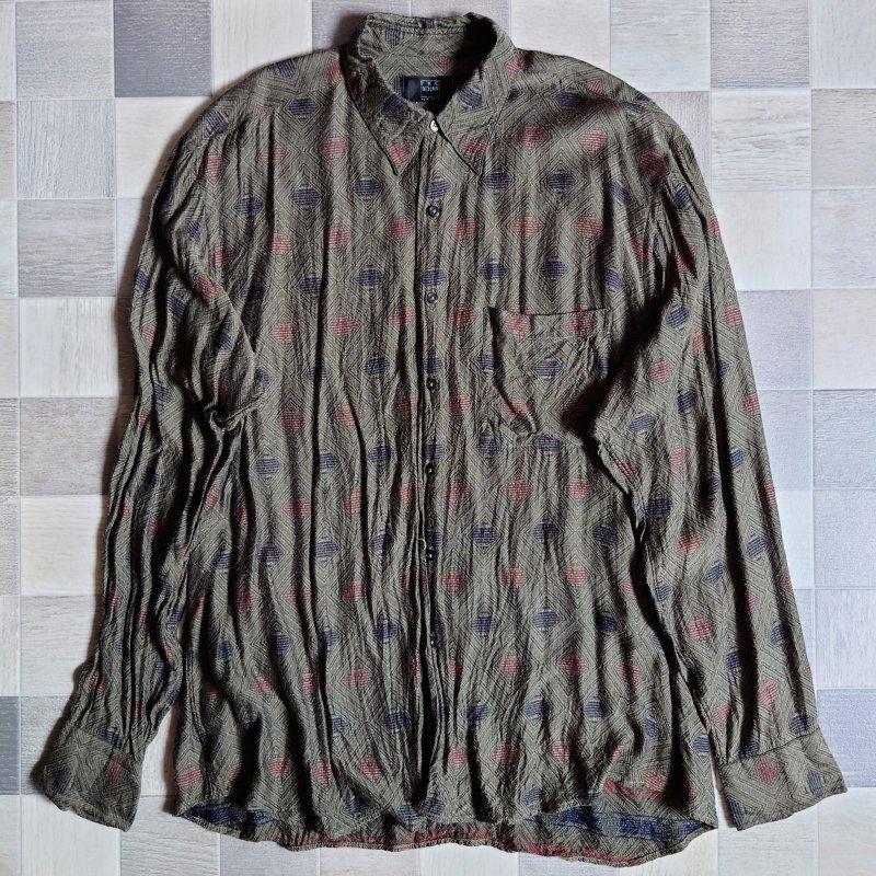 90's IKE BEHAR USA製 レーヨン バティック シャツ (VINTAGE)