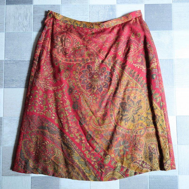Aquascutum フラワー ペイズリー スカート (USED)