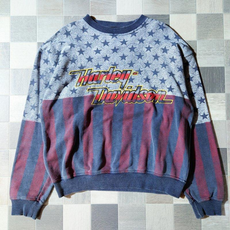 90's HARLEY DAVIDSON フラッグ スウェット ネイビー (VINTAGE)