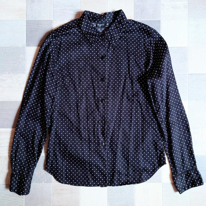 90's agnes b. ドット シャツ ブラック (VINTAGE)