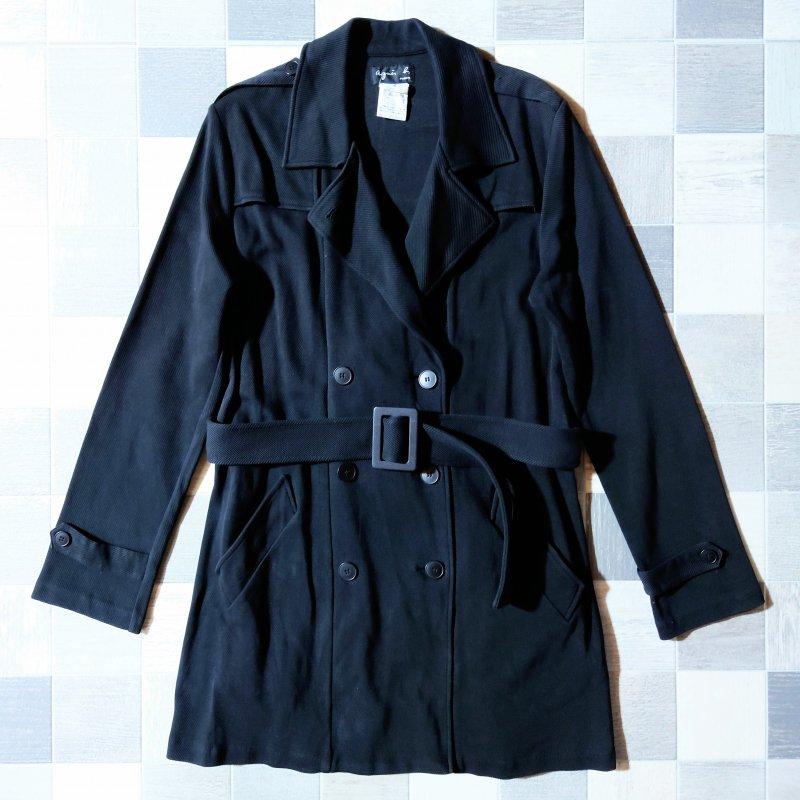 agnes b. ポーランド製 トレンチ コート ブラック (USED)