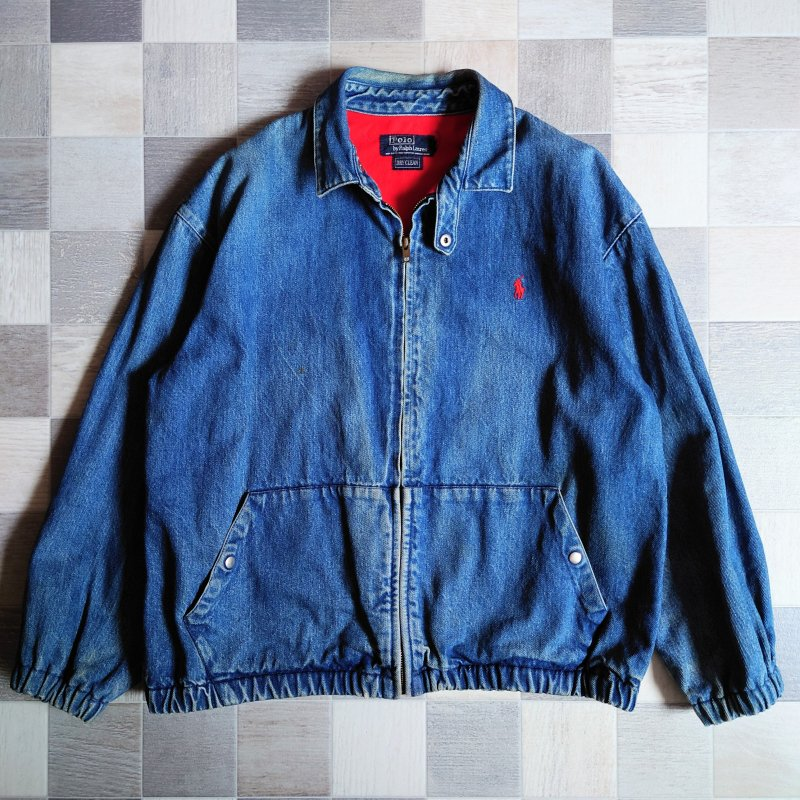 <img class='new_mark_img1' src='https://img.shop-pro.jp/img/new/icons7.gif' style='border:none;display:inline;margin:0px;padding:0px;width:auto;' />90's POLO RALPH LAUREN USA製 デニム スイングトップ (VINTAGE)