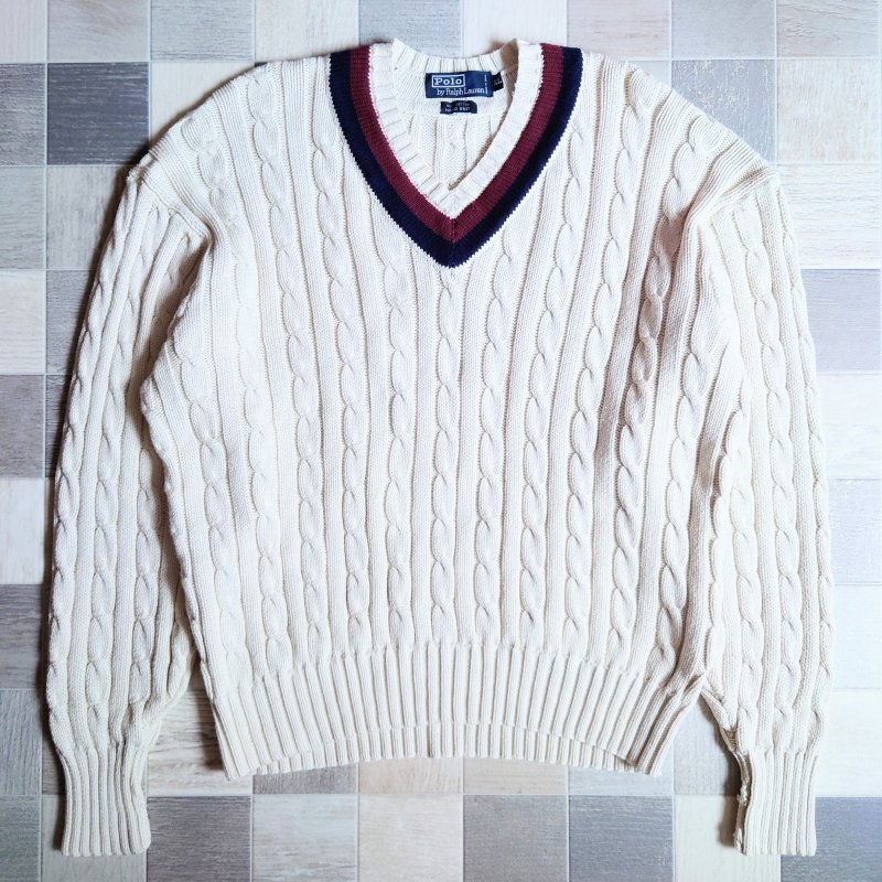 <img class='new_mark_img1' src='https://img.shop-pro.jp/img/new/icons6.gif' style='border:none;display:inline;margin:0px;padding:0px;width:auto;' />90's POLO RALPH LAUREN チルデン セーター (VINTAGE)