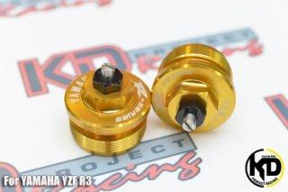 ヤマハ YZF-R3 フロントフォーク トップ カバー 左右セット ゴールド
