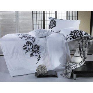 BKQ001ピロケースL(刺繍)(ベッドリネン 寝具カバー 掛け布団カバー ボックスシーツ 枕カバー 北欧 花柄)