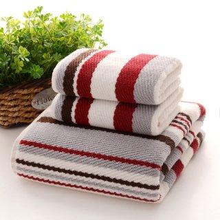 お洒落な高級長綿タオル Towel2 フェイスタオル レッド