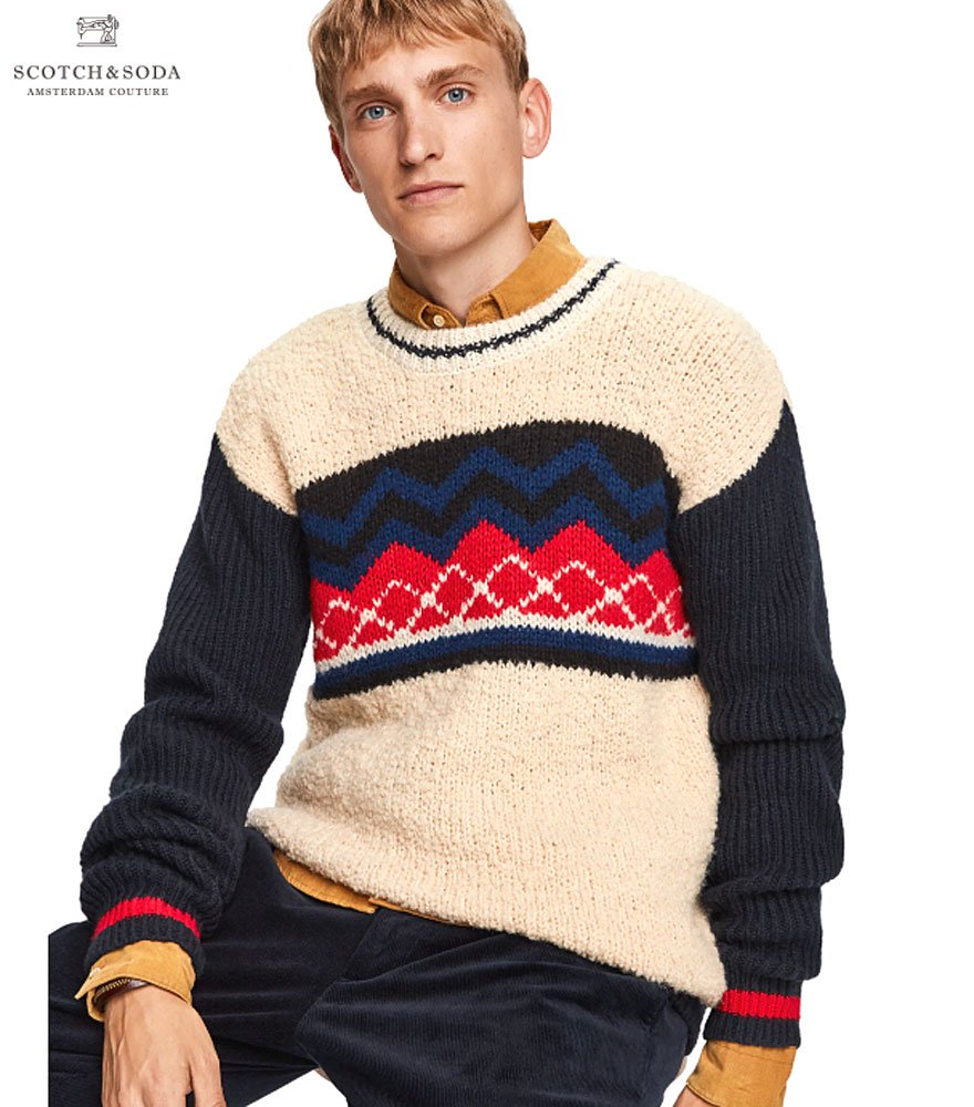 SCOTCH&SODA/スコッチ&ソーダ  Teddy Knit Crew Neck Pullover
