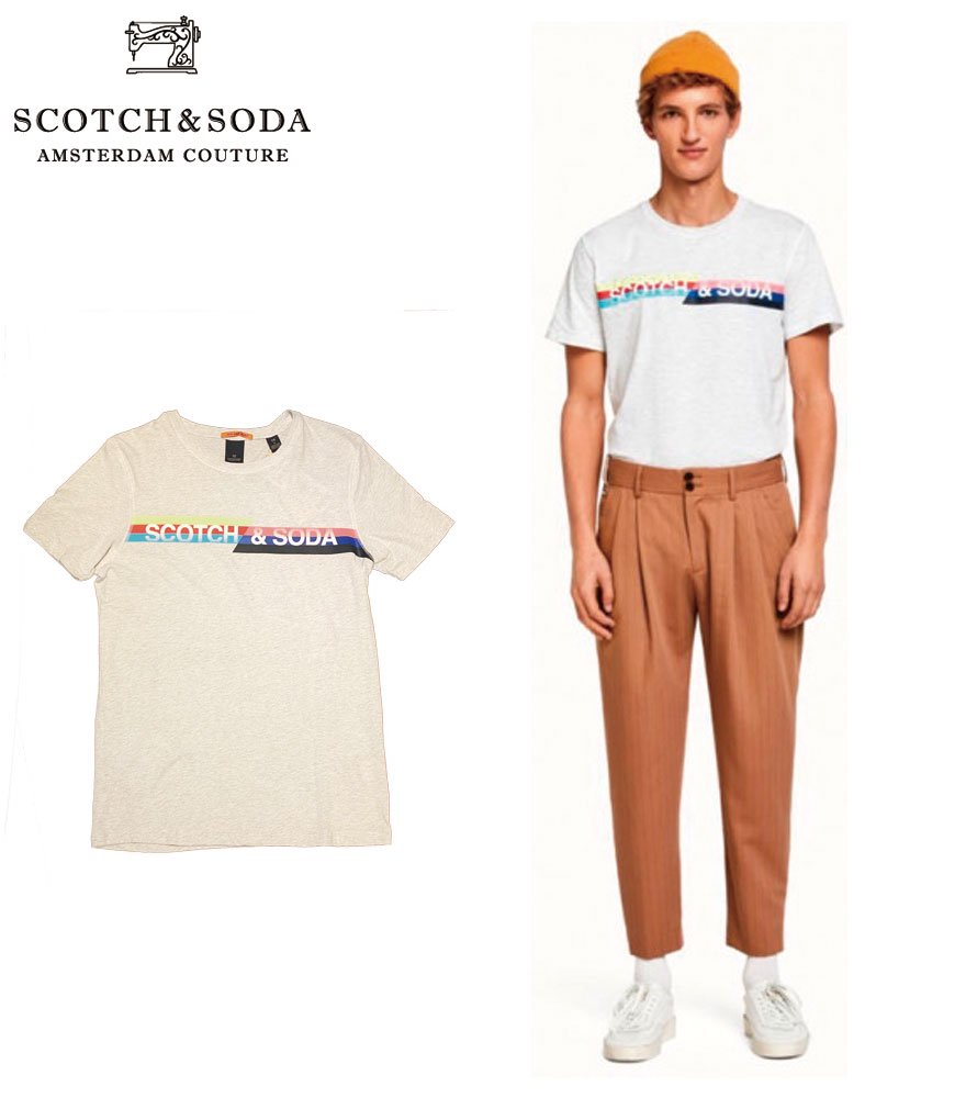 SCOTCH&SODA/スコッチ&ソーダ プリントTシャツ Retro-inspired logo artwork T-Shirt  292-74444 【149037】