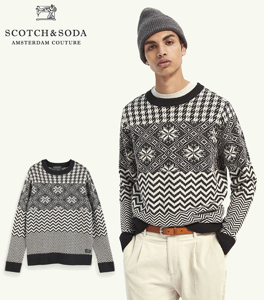 SCOTCH&SODA/スコッチ&ソーダ Lightweight wool-blend patterned pullover  292-25412 【158607】