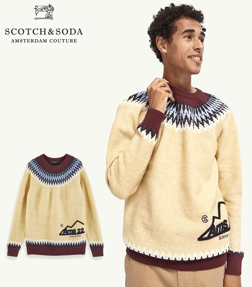 SCOTCH&SODA/スコッチ&ソーダ Wool-blend artwork detail pullover  292-25436 【158640】