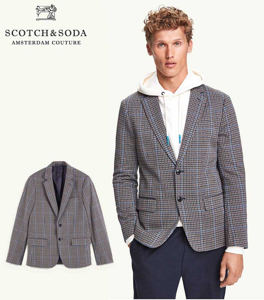 SCOTCH&SODA/スコッチ&ソーダ テーラードジャケット Single-breasted cotton check blazer 292-21713 【158386】