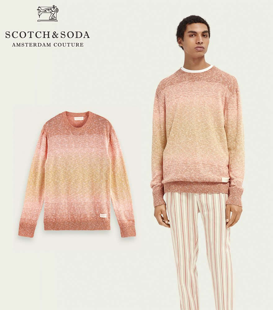 SCOTCH&SODA/スコッチ&ソーダ コットンリネンニット  Crew neck recycled cotton-blend sweater 292-35403【160903】
