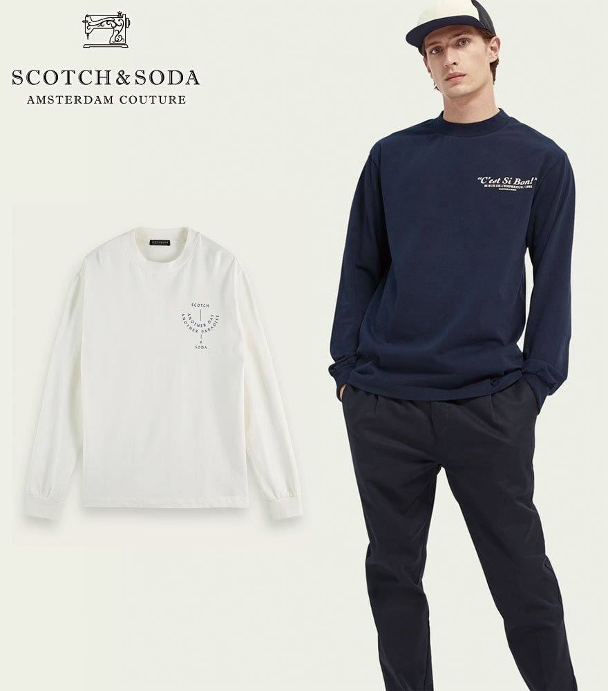 SCOTCH&SODA/スコッチ&ソーダ プリントTシャツ Artwork print organic cotton long-sleeved T-shirt  292-33402 【160838】