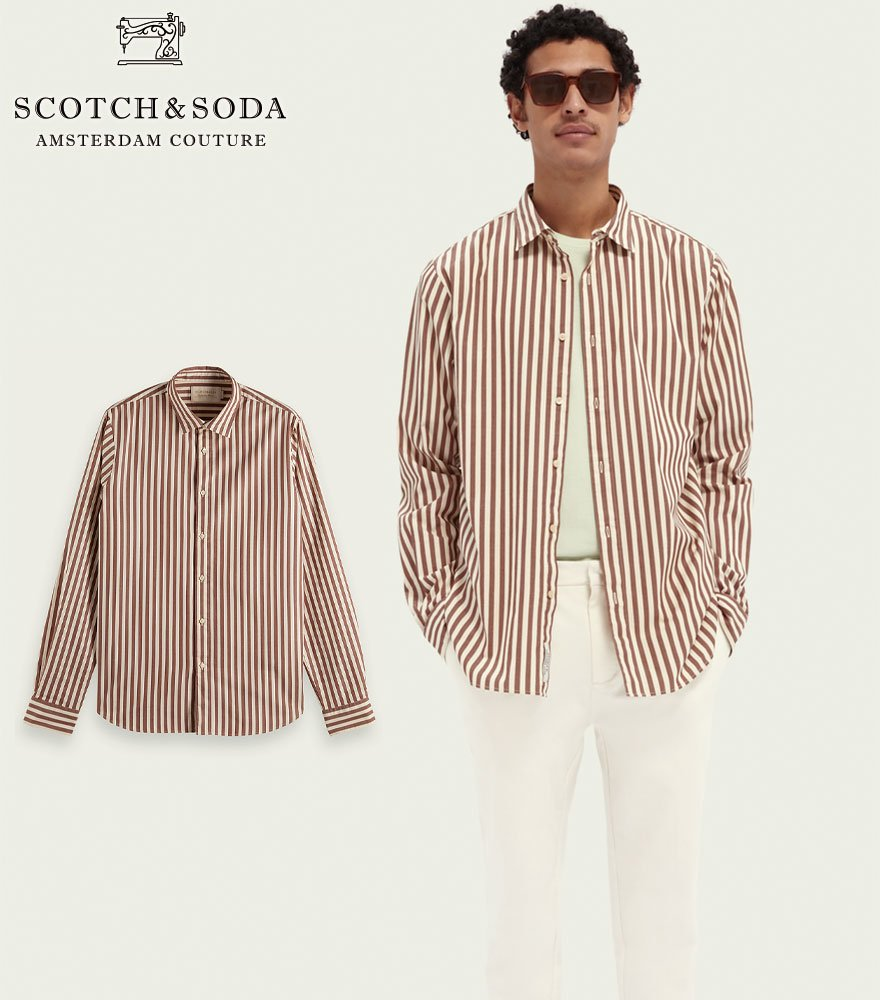 <img class='new_mark_img1' src='https://img.shop-pro.jp/img/new/icons14.gif' style='border:none;display:inline;margin:0px;padding:0px;width:auto;' />SCOTCH&SODA/スコッチ&ソーダ ストライプ柄シャツ  Striped Regular-Fit Cotton Shirt 292-31410【160769】