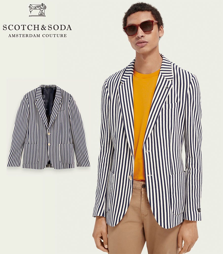 <img class='new_mark_img1' src='https://img.shop-pro.jp/img/new/icons14.gif' style='border:none;display:inline;margin:0px;padding:0px;width:auto;' />SCOTCH&SODA/スコッチ&ソーダ ストライプジャケット  Striped single-breasted organic cotton blazer 292-31709【160682】