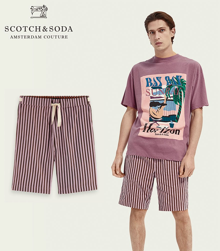 <img class='new_mark_img1' src='https://img.shop-pro.jp/img/new/icons14.gif' style='border:none;display:inline;margin:0px;padding:0px;width:auto;' />SCOTCH&SODA/スコッチ&ソーダ ストライプショーツ Fave striped cotton shorts Purple 292-32512 【160745】