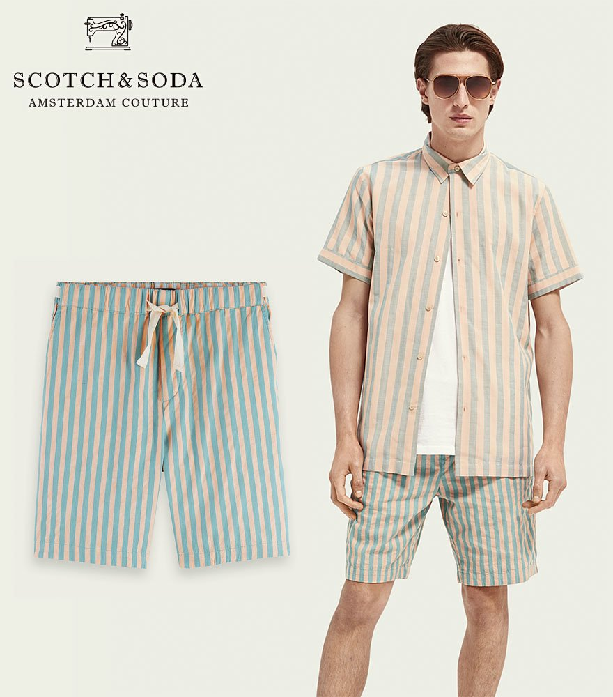 <img class='new_mark_img1' src='https://img.shop-pro.jp/img/new/icons14.gif' style='border:none;display:inline;margin:0px;padding:0px;width:auto;' />SCOTCH&SODA/スコッチ&ソーダ ストライプショーツ Fave striped cotton shorts BLUE 292-32512 【160745】