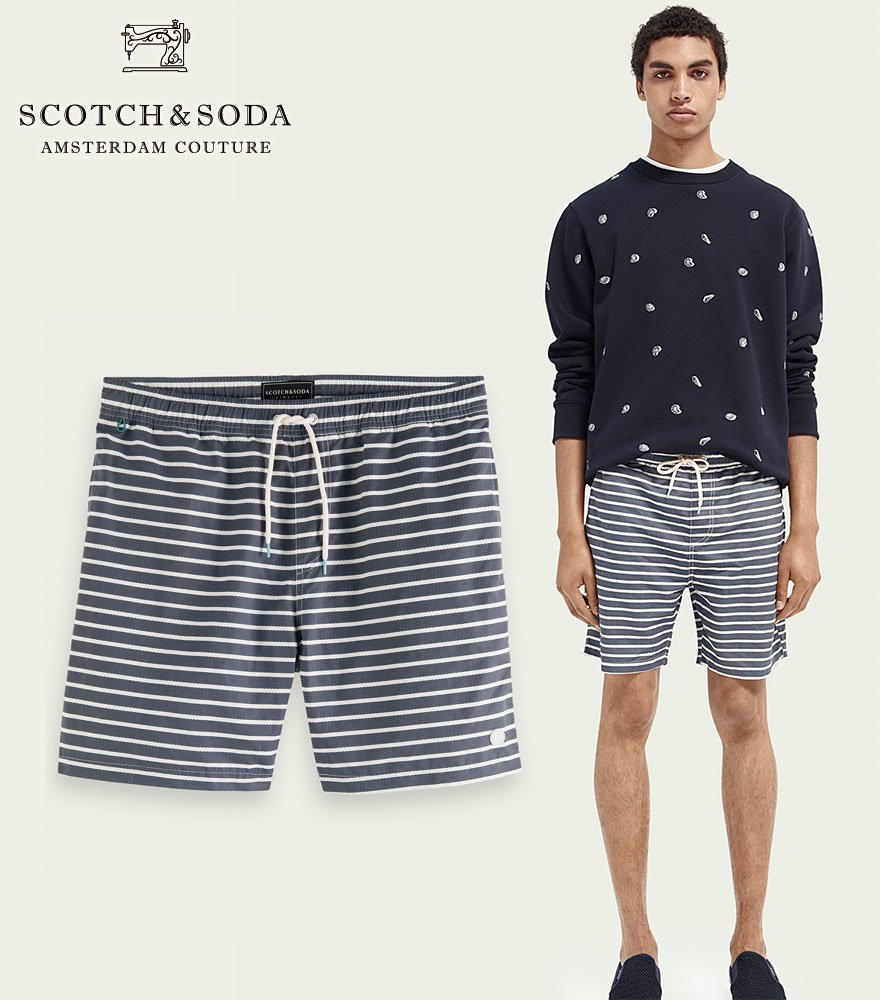 <img class='new_mark_img1' src='https://img.shop-pro.jp/img/new/icons14.gif' style='border:none;display:inline;margin:0px;padding:0px;width:auto;' />SCOTCH&SODA/スコッチ&ソーダ スウィムパンツ Mid-length recycled polyester swim short Border 292-38603 【160604】