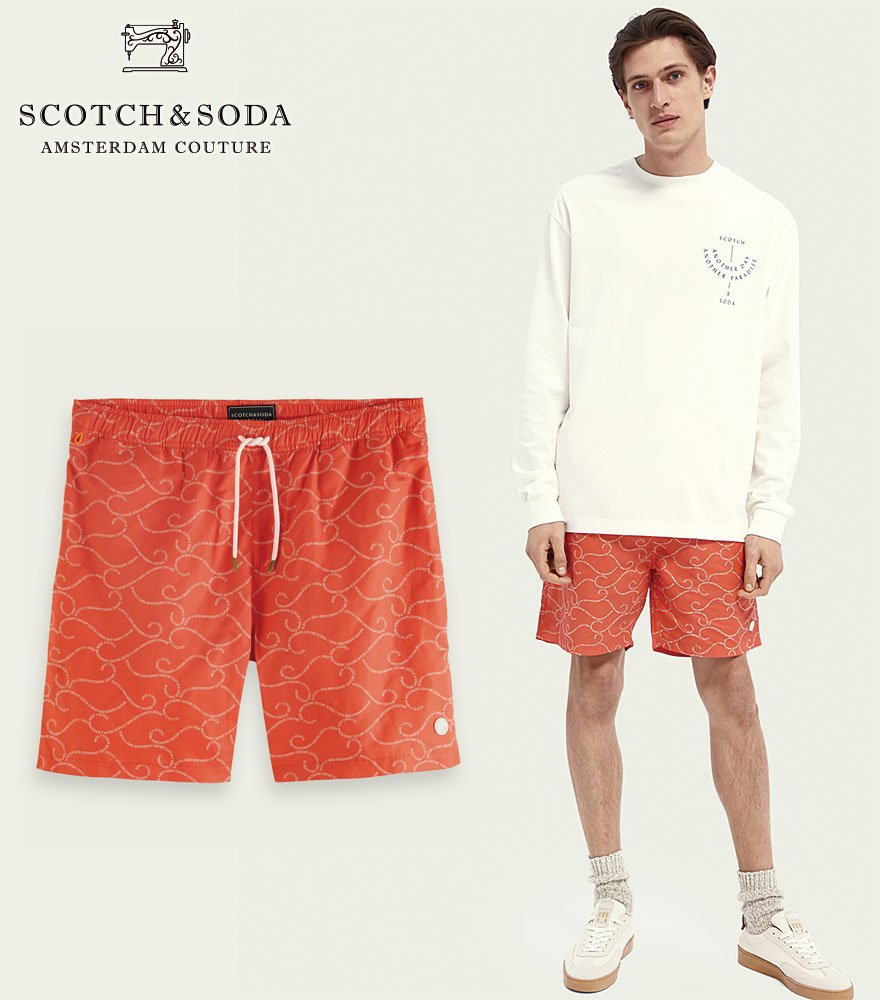 <img class='new_mark_img1' src='https://img.shop-pro.jp/img/new/icons14.gif' style='border:none;display:inline;margin:0px;padding:0px;width:auto;' />SCOTCH&SODA/スコッチ&ソーダ スウィムパンツ Mid-length recycled polyester swim short Red 292-38603 【160604】