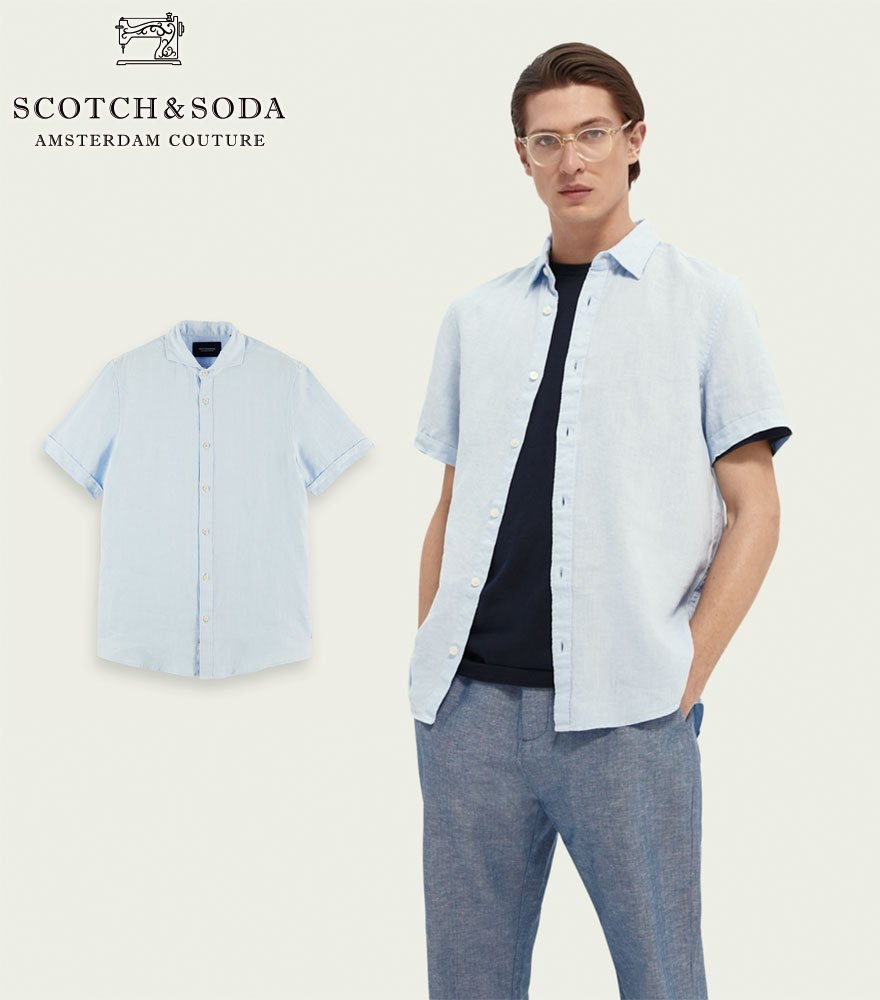 <img class='new_mark_img1' src='https://img.shop-pro.jp/img/new/icons1.gif' style='border:none;display:inline;margin:0px;padding:0px;width:auto;' />SCOTCH&SODA/スコッチ&ソーダ 半袖リネンシャツ  Regular-Fit Short-Sleeved Linen Shirt ライトブルー 292-32402【160791】