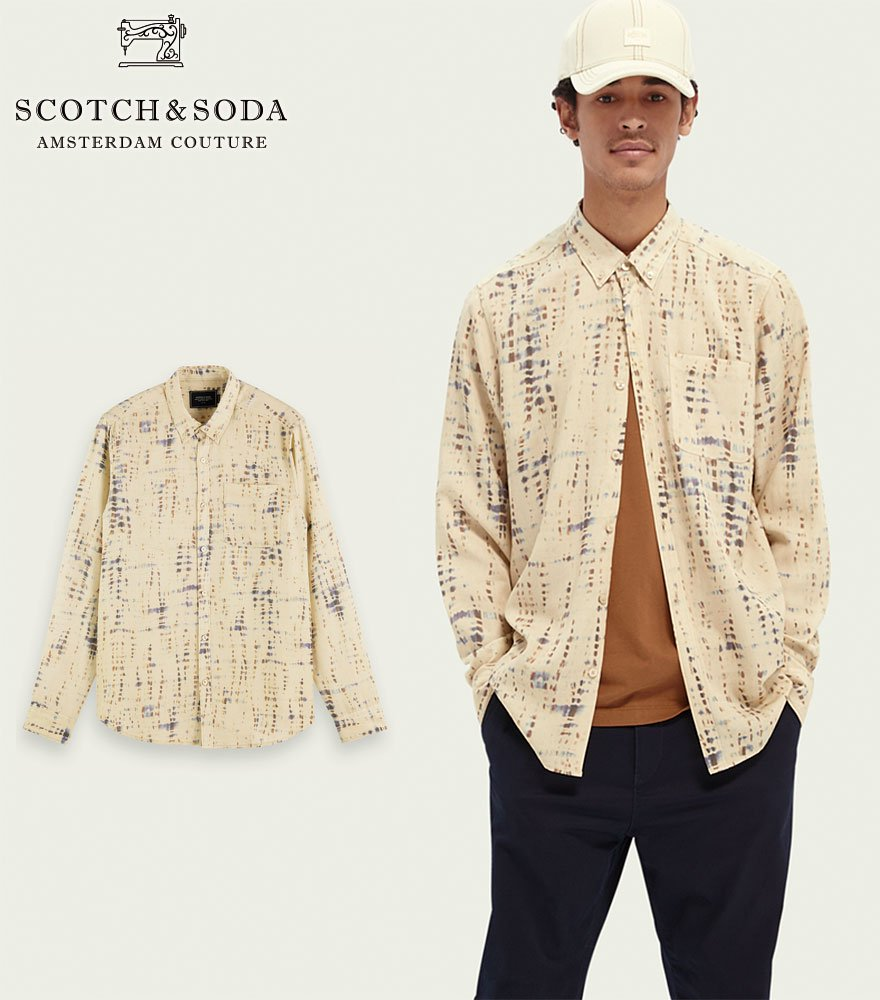 SCOTCH&SODA/スコッチ&ソーダ L/Sシャツ Printed relaxed-fit shirt ベージュ 282-41422【162923】