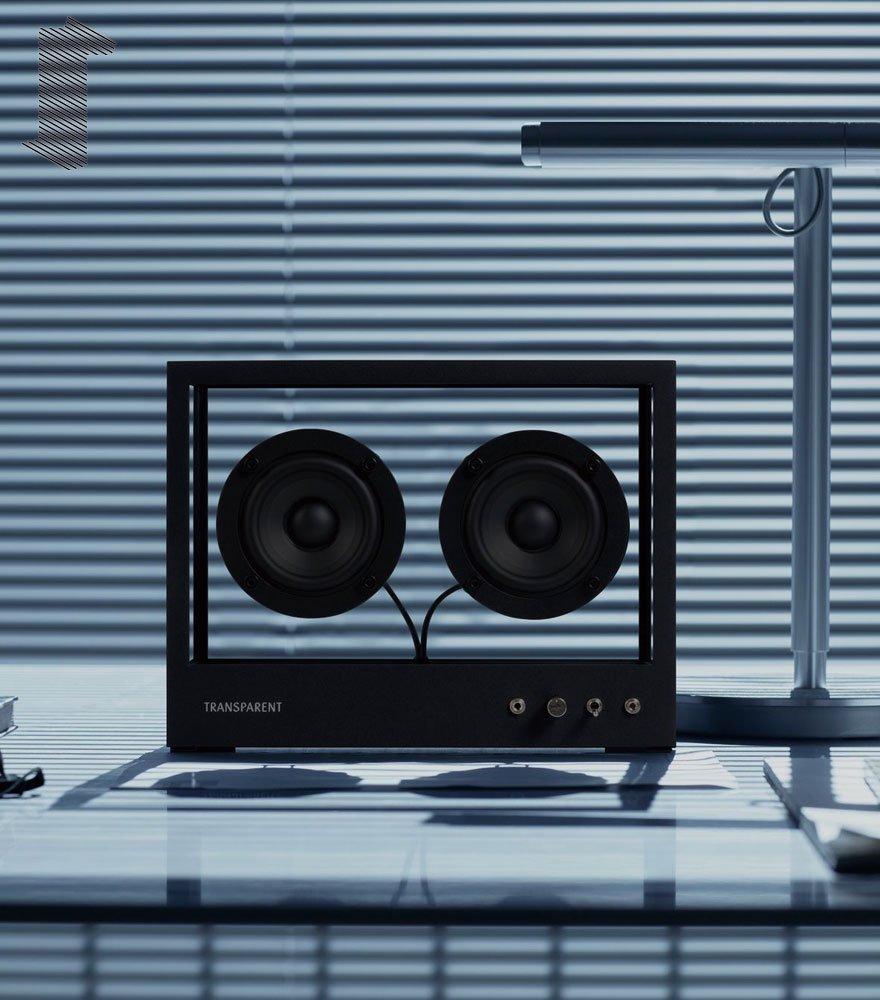 音楽をインテリアに TRANSPARENT SPEAKER/トランスペアレント スピーカー SMALL BLACK TPS-04