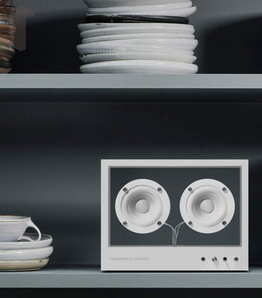 音楽をインテリアに TRANSPARENT SPEAKER/トランスペアレント スピーカー SMALL WHITE TPS-02