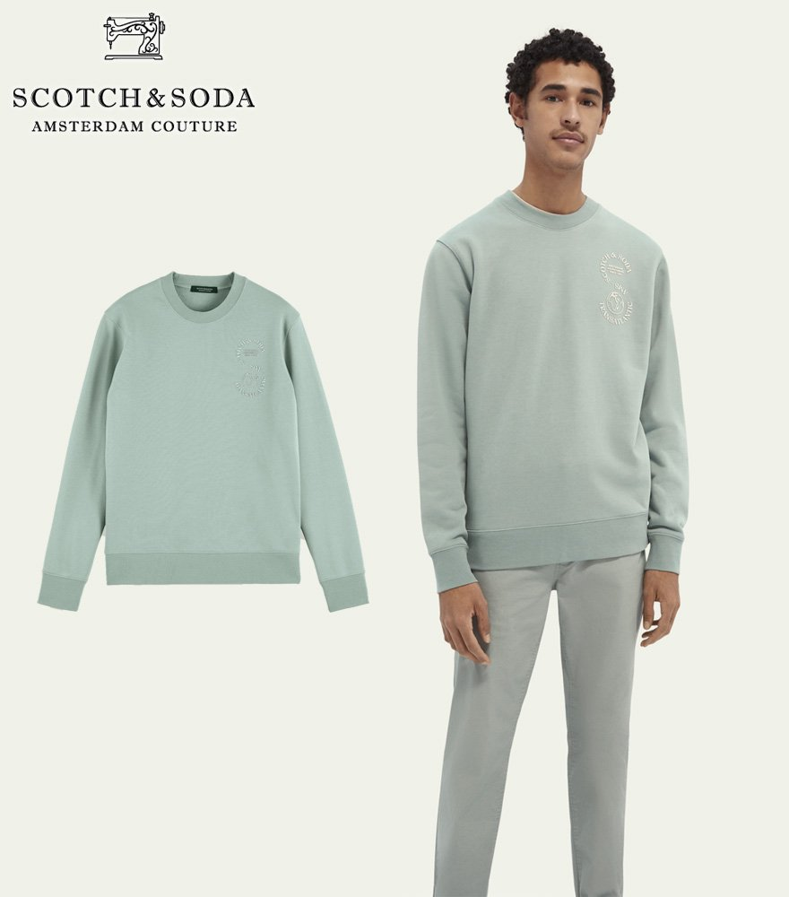 <img class='new_mark_img1' src='https://img.shop-pro.jp/img/new/icons14.gif' style='border:none;display:inline;margin:0px;padding:0px;width:auto;' />SCOTCH&SODA/スコッチ&ソーダ スウェット Graphic crew neck sweater ブルー 282-43808【162342】