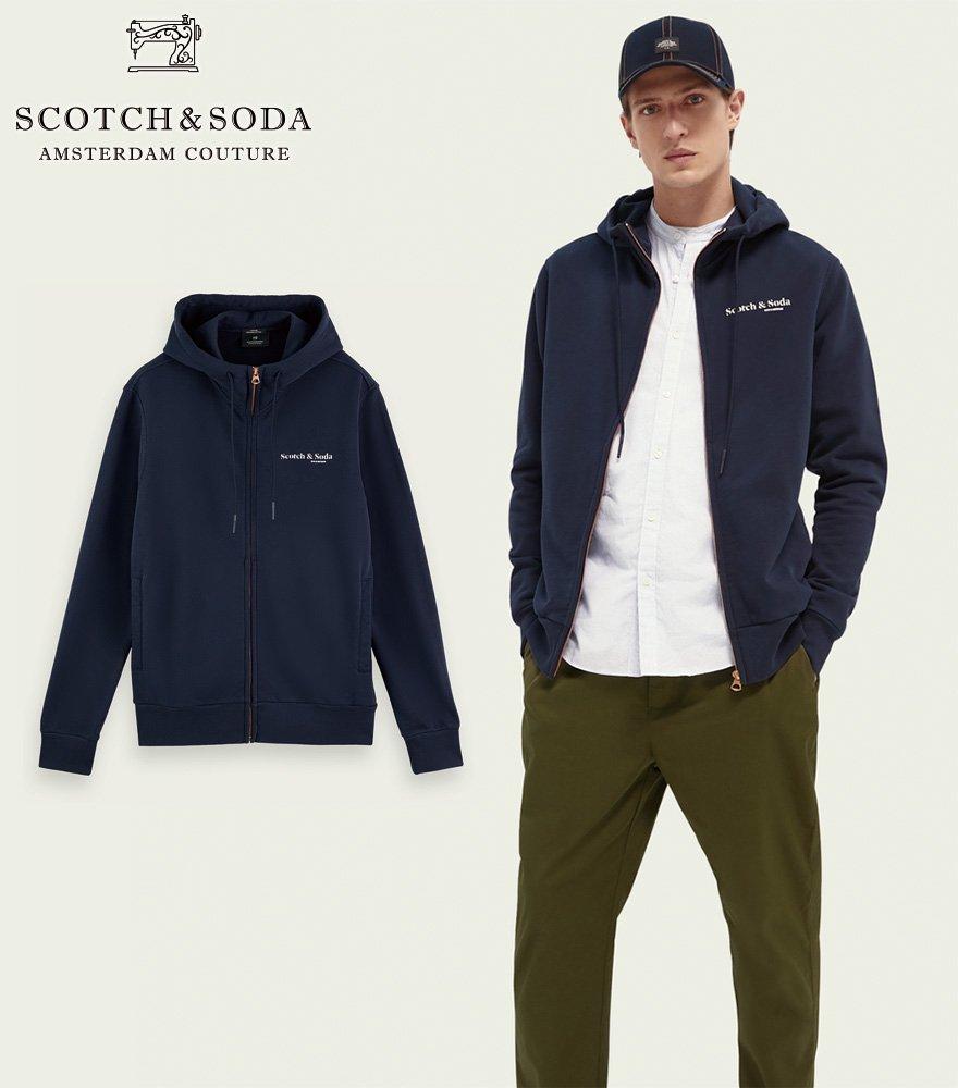 SCOTCH&SODA/スコッチ&ソーダ ジップパーカー Relaxed-fit hoodie ネイビー 282-43811【162347】