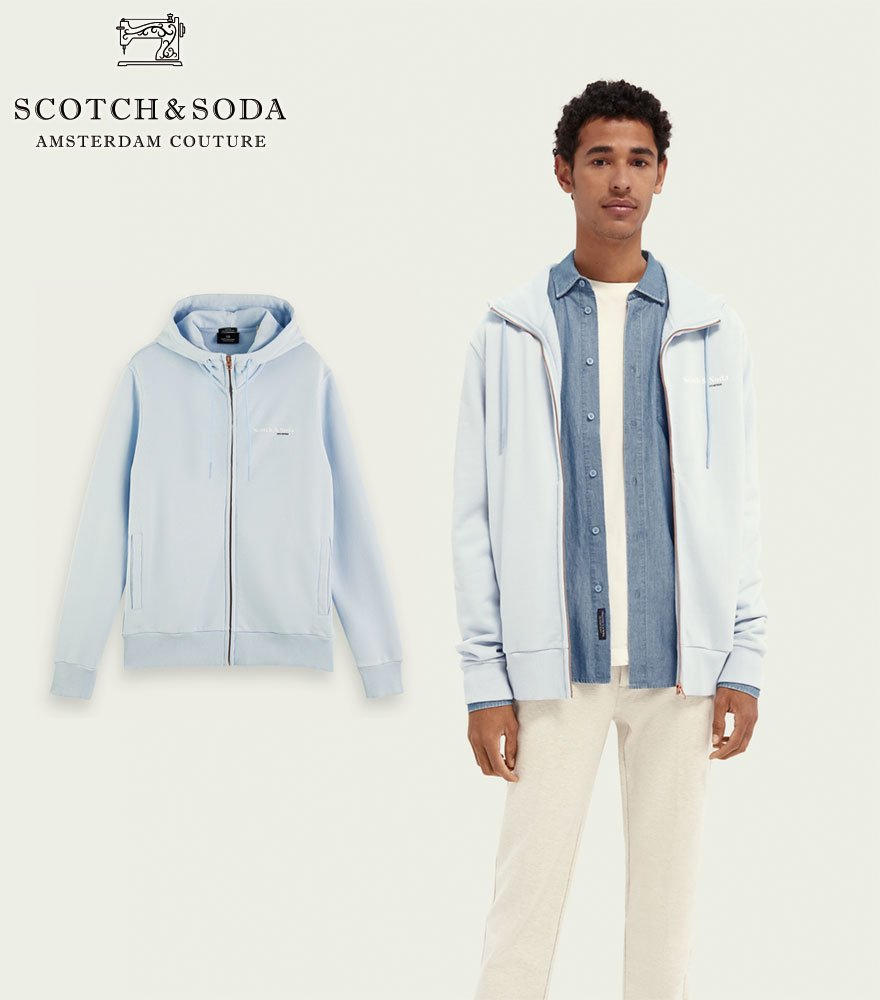 <img class='new_mark_img1' src='https://img.shop-pro.jp/img/new/icons14.gif' style='border:none;display:inline;margin:0px;padding:0px;width:auto;' />SCOTCH&SODA/スコッチ&ソーダ ジップパーカー Relaxed-fit hoodie スカイブルー 282-43811【162347】