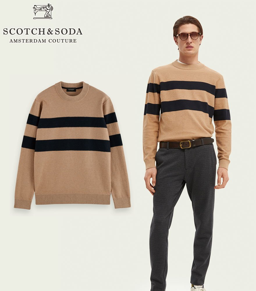 <img class='new_mark_img1' src='https://img.shop-pro.jp/img/new/icons14.gif' style='border:none;display:inline;margin:0px;padding:0px;width:auto;' />SCOTCH&SODA/スコッチ&ソーダ ニット ベージュ  Structure-knitted sweater 292-45424【164870】