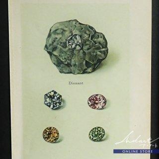 【 Andart 】 鉱物の図版-Diamant, Rubin-金剛石, 紅玉