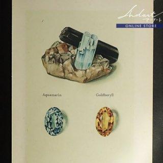 【 Andart 】 鉱物の図版-Aquamarin, Topas-藍玉, 黄玉