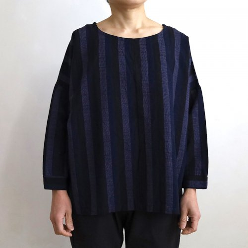 YAMMA 会津木綿 カフスシャツ 黒かつお縞