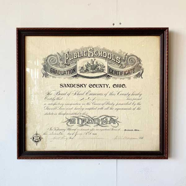 1898's ANTIQUE DIPLOMA