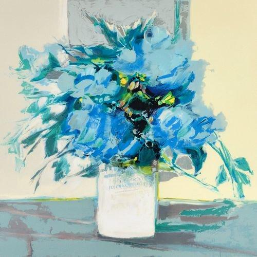 白い花瓶の青い花束【レンタル使用品】