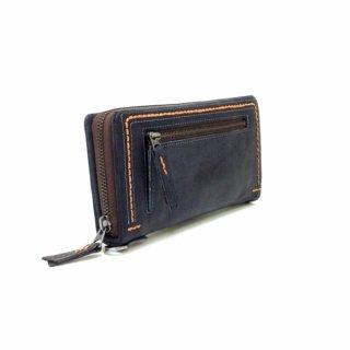 【ザンビアハンドステッチ】クラフト感覚でカラーコンビがおしゃれな財布<BR>ラウンドファスナー長財布