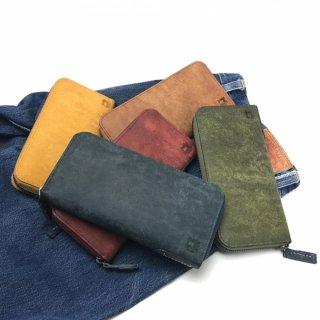 【プエブロ(日本製)】表面の起毛加工が特徴的なレザーらしいレザーグッズ<BR>ラウンドファスナー長財布