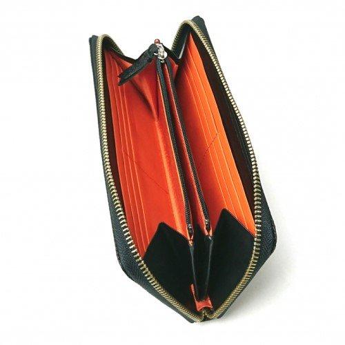 【アウトレット/型押しコンビ】キズが着きにくい革に、しっくりと馴染む差し色がスタイリッシュ ラウンドファスナー長財布