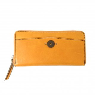 【リオ】発色のいいカラーのレザーを使ったボタンホール風デザインが可愛い財布<br> ラウンドファスナー長財布